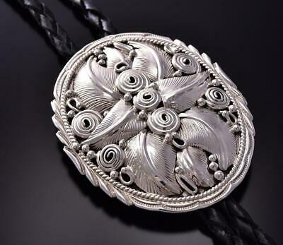 All Silver -Four Directions- Feathers Round Navajo Bolo Tie Darrell Morgan ZA28H