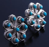 Silver Turquoise Zuni Petty Point Flower Earrings 7G01V
