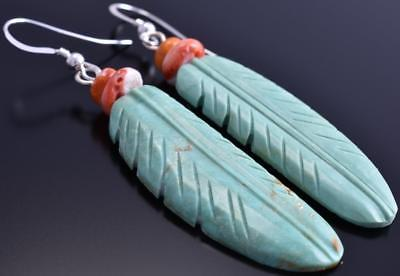 Turquoise & Coral Free Form Hand Designed Navajo Feather Earrings 8F18E