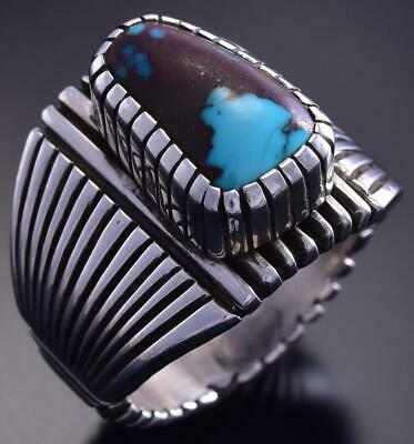 Size 11-3/4 Silver & Bisbee Turquoise Navajo Men's Ring by Erick Begay 9K17D