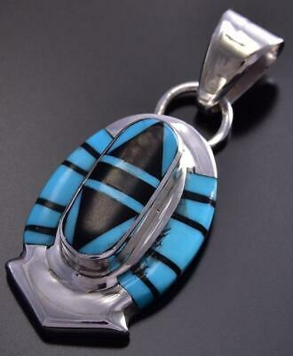 Turquoise and Jet Inlay Pendant by Ophelia Panteah 9J27U