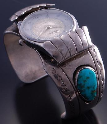 Vintage Silver Turquoise Sunrise & Sunset Navajo Watch Bracelet 7F11F