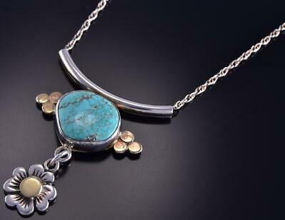 "20"" Silver & 18k Gold & #8 Spiderweb Turquoise Navajo Necklace Erick Begay ZL10G"