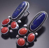 Vintage Silver & Lapis & Coral Bottom Navajo Earrings 9A31U