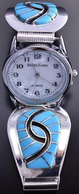 Silver & Turquoise Zuni Inlay Hummingbird Men's Watch by Amy Wesley 8J18A