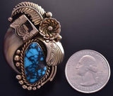 Vintage Size 8-1/4 14k Gold & Hubei Turquoise Faux Bearclaw Ring by JH ZG23G