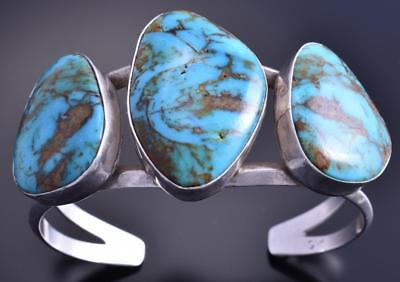 Vintage Old Pawn Silver Stabilized Turquoise Three Stone Navajo Bracelet 7L14C