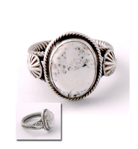 ZBM White Buffalo Ring Old Style by Erick Begay CD60C