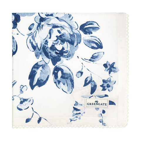 Cloth napkin -  Amanda Indigo with lace