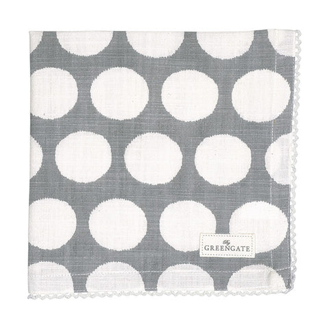 Cloth napkin -  Aura grey with lace