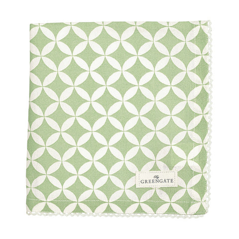 Cloth napkin - Mai green with lace