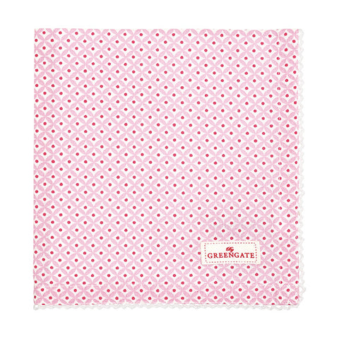 Cloth napkin - Noa raspberry with lace