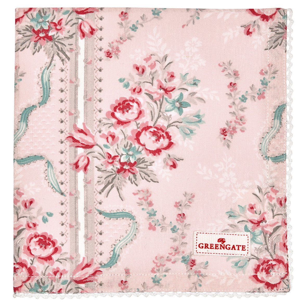 Cloth Napkin Betty Pink With Lace The Shabby Chic Store