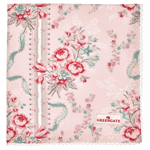 Cloth napkin -  Betty pink with lace