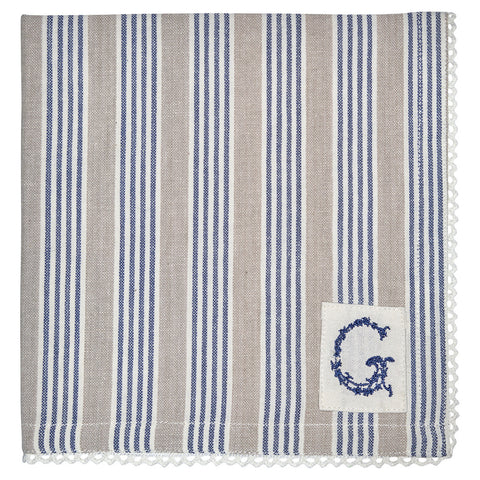 Cloth napkin -  Nora blue with lace