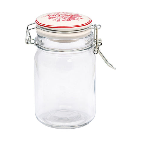 Glass storage jar - Abelone raspberry 220ml