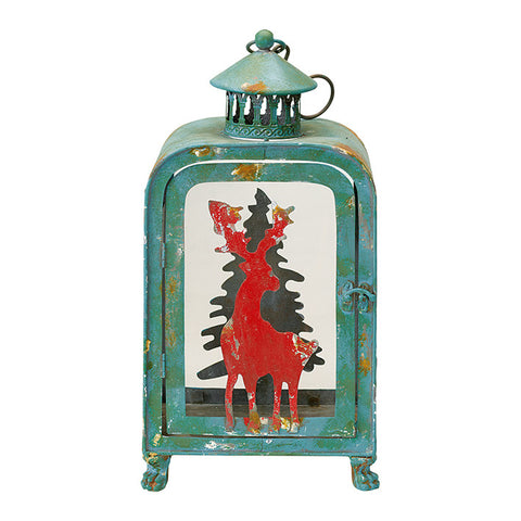 Iron Xmas lantern green Medium H38cm