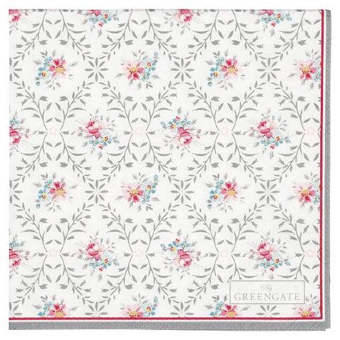 Paper napkin (small) - Daisy pale grey 20 pcs