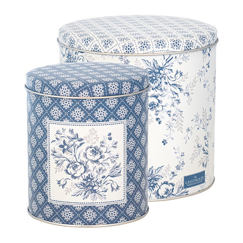 Set of 2 Tin box round Sadie blue