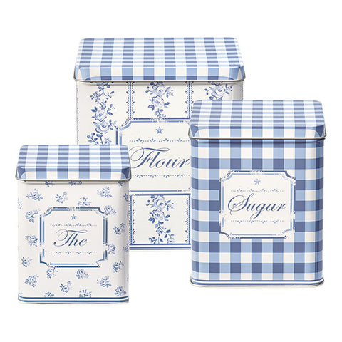 Set of 3 Tin box square Audrey Indigo