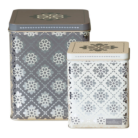 Set of 2 Tin box square Oona dark grey