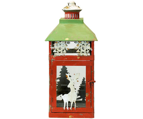 Iron Xmas lantern green Large H47cm