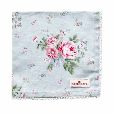 Cloth napkin -  Marley Pale Blue with lace