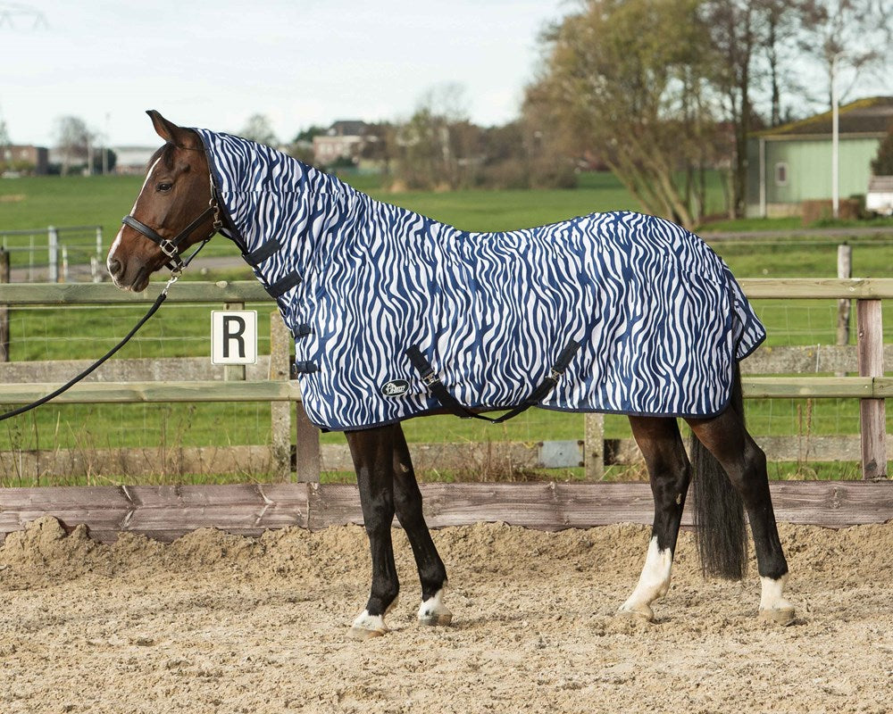 Harry's Horse Fly Sheet Zebra French Blue
