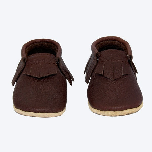 Baby Moccasins - Australian Made - Brown Leather with fringing around sides and back and on top.