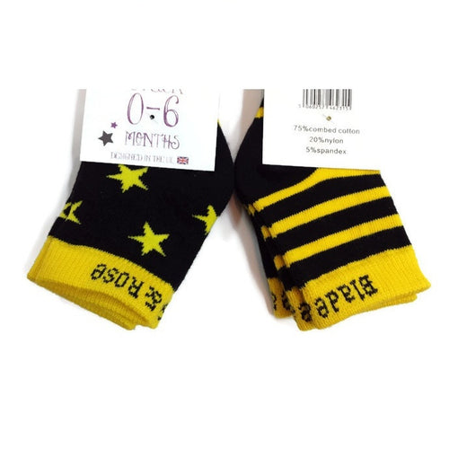 Blade & Rose Baby Socks 2 Pack - Yellow and Black