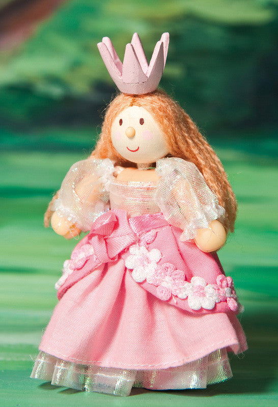 This pretty little fairy is Princess Francesca. She has a tiara and is dressed in a gorgeous hand-finished fabric outfit. These bendy wooden Budkins characters are made for little hands.