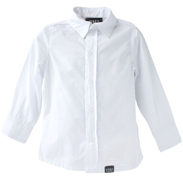 Boys white tailored long sleeve shirt with detachable collar.