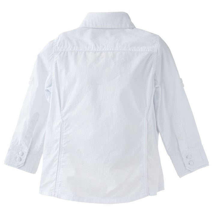 Boys white tailored long sleeve shirt with detachable collar.  Darts in back for perfect fit.