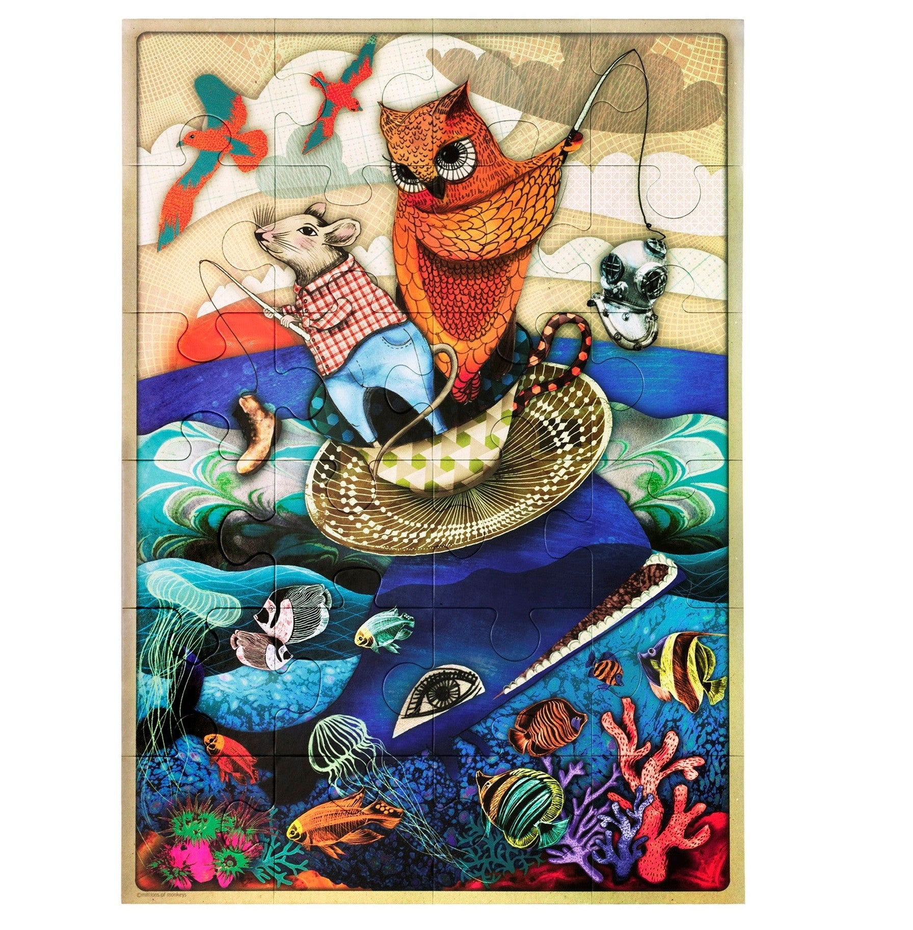 Floor Puzzle - The One That Got Away -This terrific floor puzzle with beautiful design and colours, featuring animated Australian animals is perfect for little ones.This large 24 piece floor puzzle (each piece approx 16cm x 12cm) measures 48cm x 68cm.is great for skills development and fantastic fun. Ages 3+
