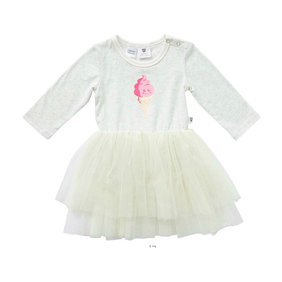 Hootkid I Scream Bow Tutu - Natural.  Bodice has pink icecream print and there are 3 layers of soft cream tulle covering a cotton skirt.