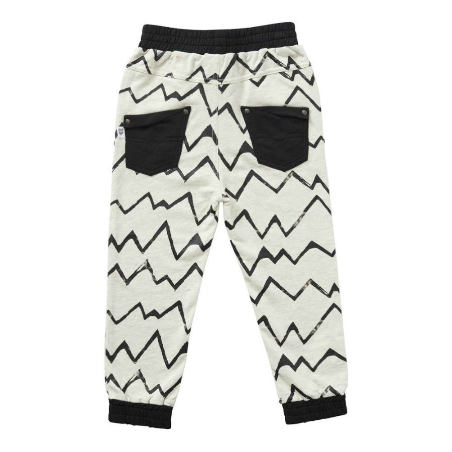 Hootkid Player Pant. Light grey marle trackpant with black linear pattern. Back.