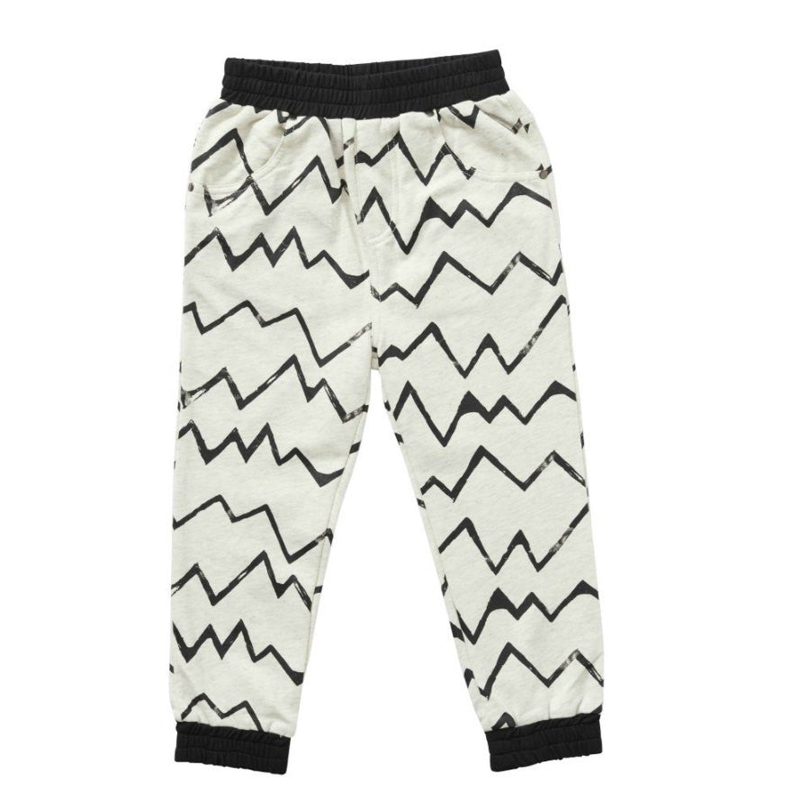Hootkid Player Pant. Light grey marle trackpant with black linear pattern.  Front.