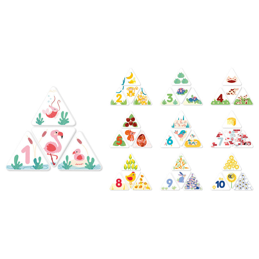 This is a terrific game with 40 pieces, 10 sets to put together, colour coded to help the littlies. Choose an animal, then find the triangle depicting the animals food and place it above