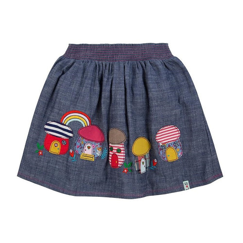 Lilly & Sid Applique Chambray Skirt- Toadstools