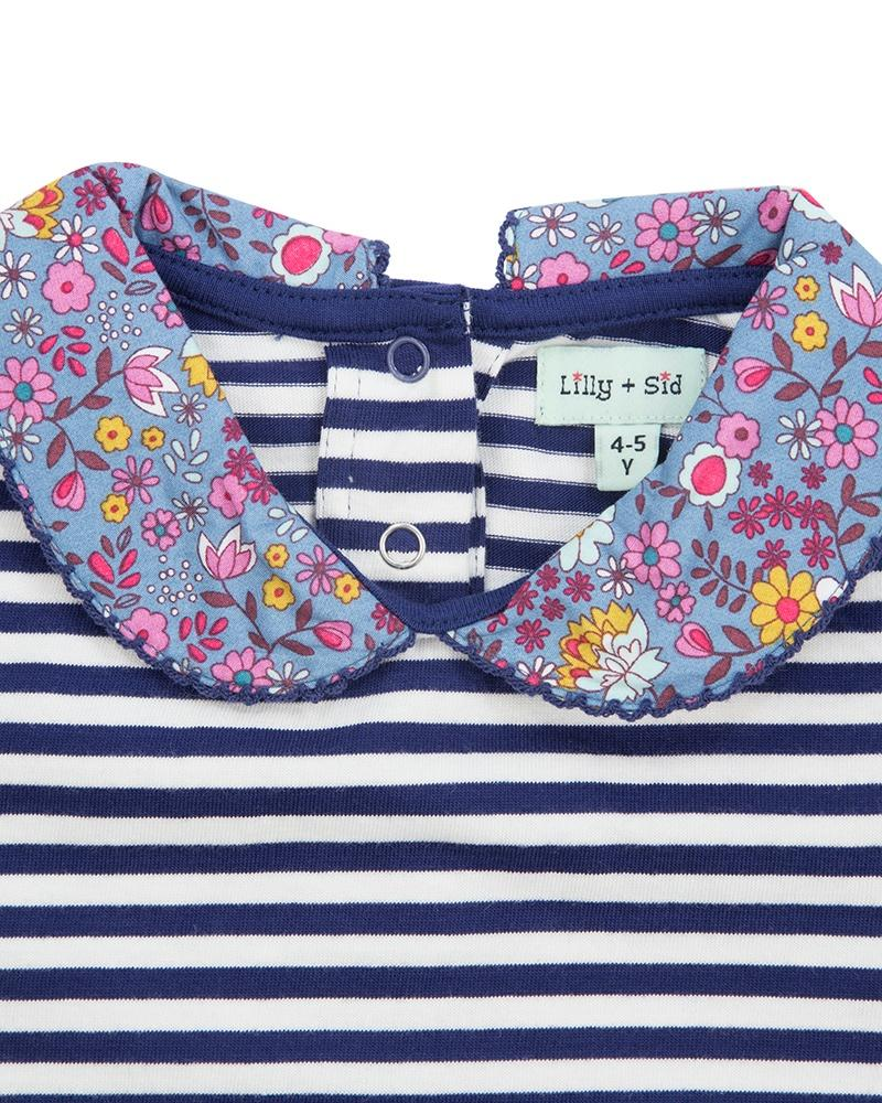 Lilly & Sid Stripe Top with Ditsy Collar