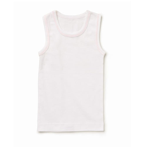 Marquise Girls Singlet - White with Pink Trim