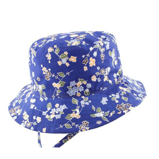 Millymook Bucket Hat - Viola Blue.  Hat showing royal blue side with pastel flowers.