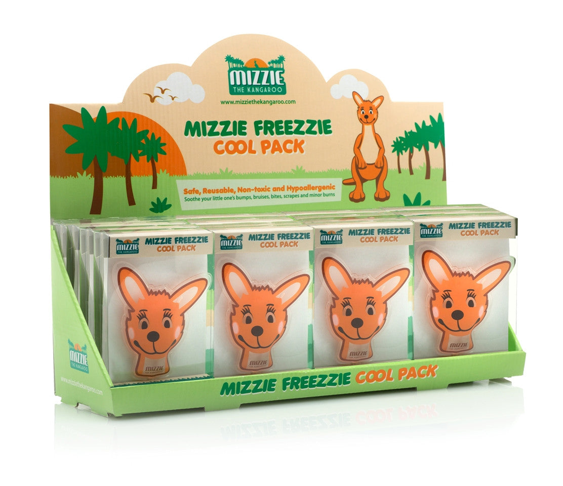 Small orange gel filled cold pack in the shape of a kangaroos head.  Bright orange in colour.
