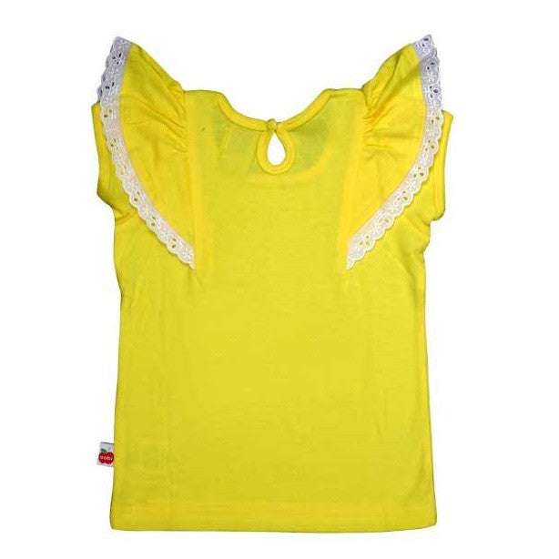 Oobi Flutter Buttercup Tee. Yellow tee with capped sleeves and flutter layer over sleeve. Back view.