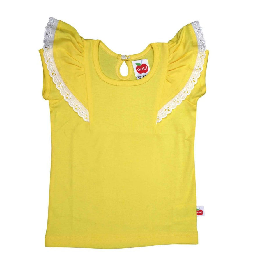 Oobi Flutter Buttercup Tee. Yellow tee with capped sleeves and flutter layer over sleeve. Front view.