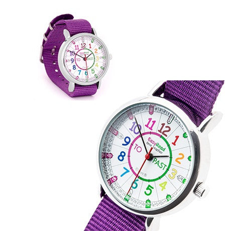 EasyRead Time Teacher Watch Rainbow - Purple Strap
