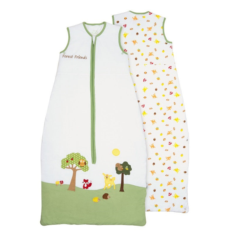 Sleeveless green and white sleeping bag with centre zip and forest friends embroidery.