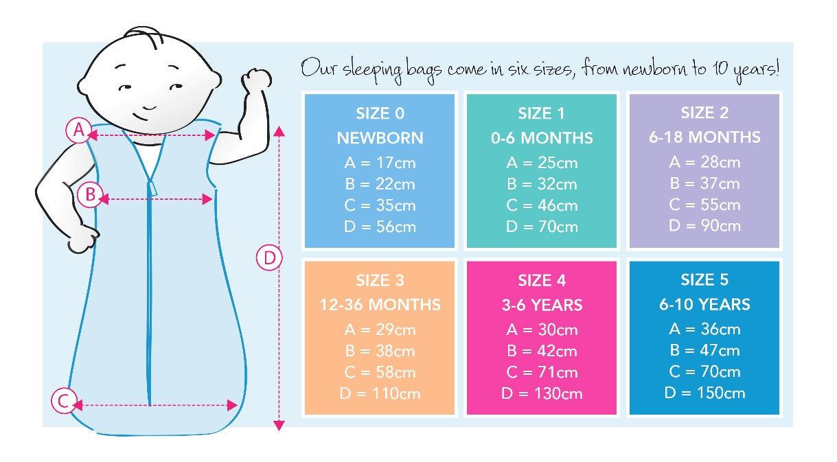 Sleeping bag size chart.