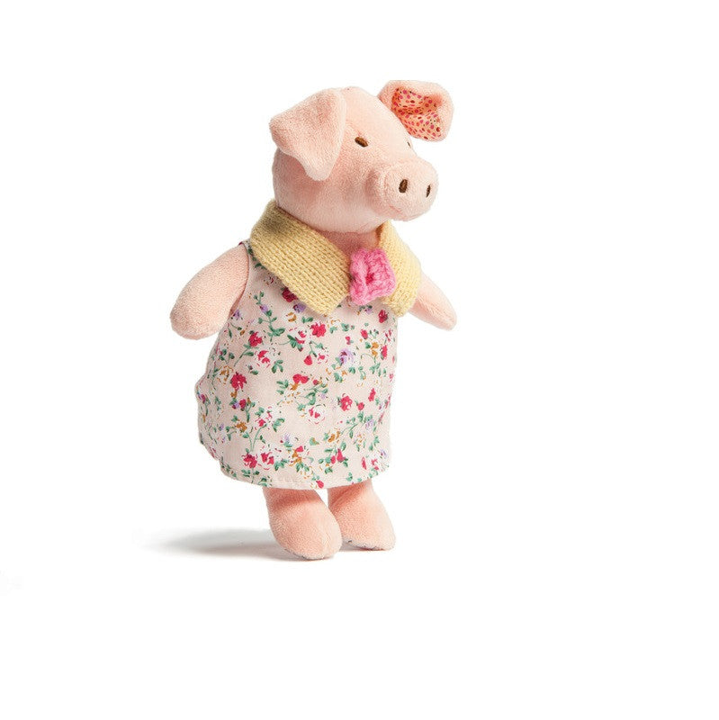 Soft Toy - Ragtales Primrose Pig - pink velour soft toy Primrose Pig? She is dressed in a floral dress with knitted collar and has patchwork ears.
