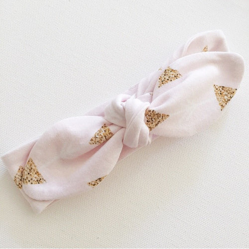 Top Knot Headband - Blush Arrows and Gold Glitter Triangles